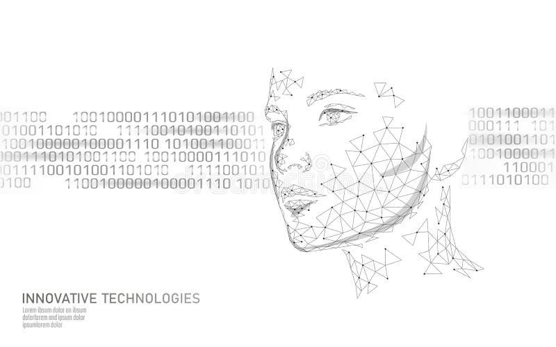 Lage poly vrouwelijke menselijke gezichts biometrische identificatie Het concept van het erkenningssysteem De persoonsgegevens be vector illustratie
