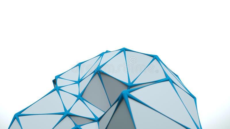 Lage poly witte oppervlakte met het blauwe randen 3D teruggeven stock illustratie