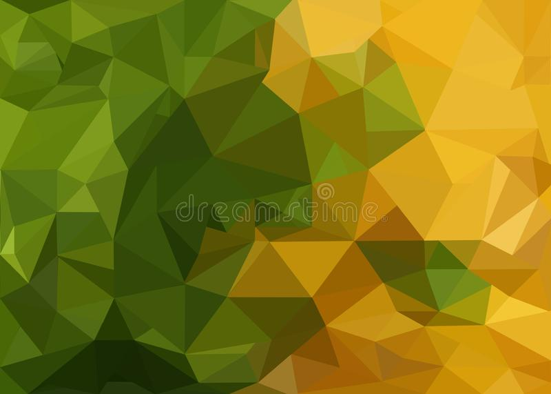 Lage polyachtergrond in groene en gele kleuren royalty-vrije illustratie