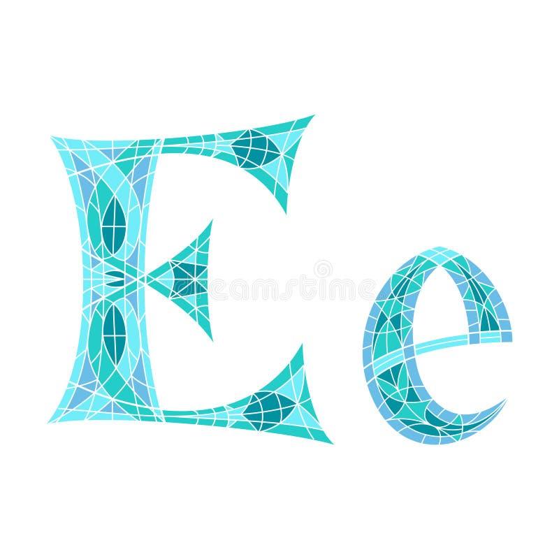 Lage polybrief E in blauwe mozaïekveelhoek royalty-vrije illustratie