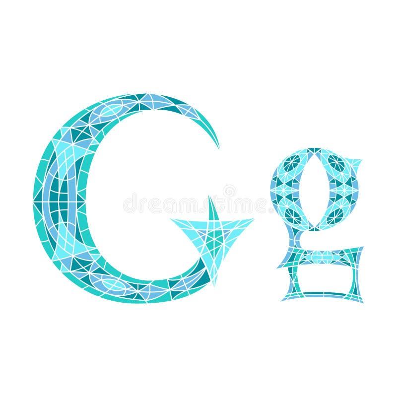 Lage polybrief G in blauwe mozaïekveelhoek vector illustratie