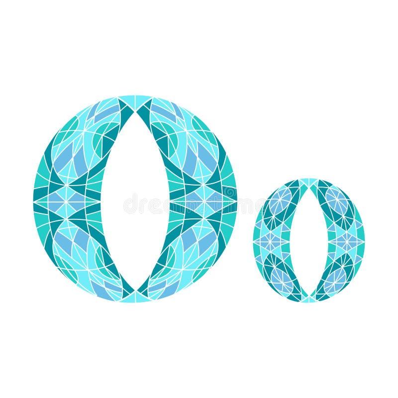 Lage polybrief O in blauwe mozaïekveelhoek stock illustratie