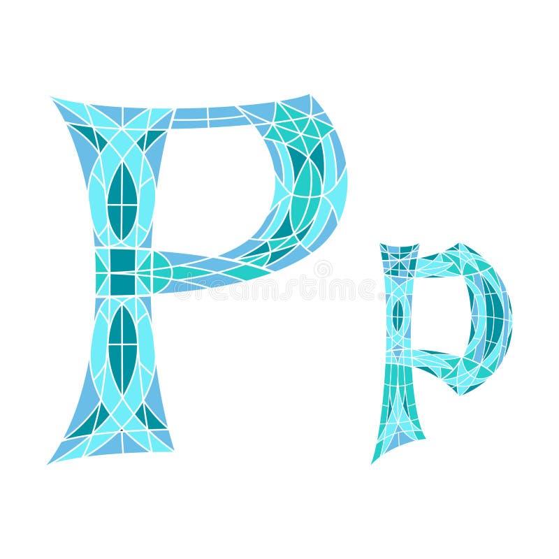 Lage polybrief P in blauwe mozaïekveelhoek vector illustratie