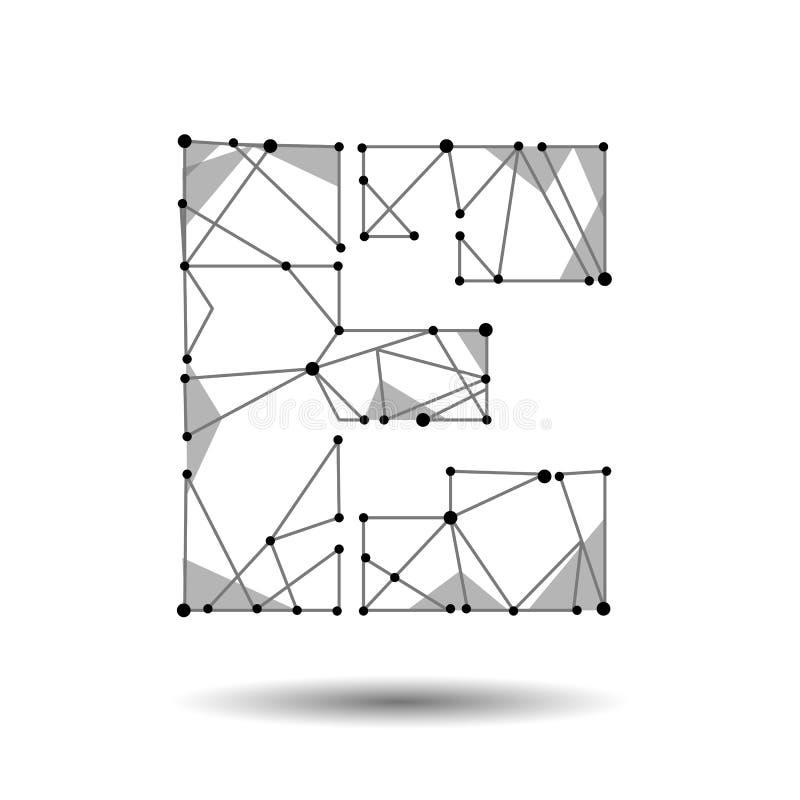 Lage polybrievene Engelse Latijnse Cyrillic De veelhoekige driehoek verbindt de lijn van het puntpunt Zwarte witte 3d structuur m royalty-vrije illustratie