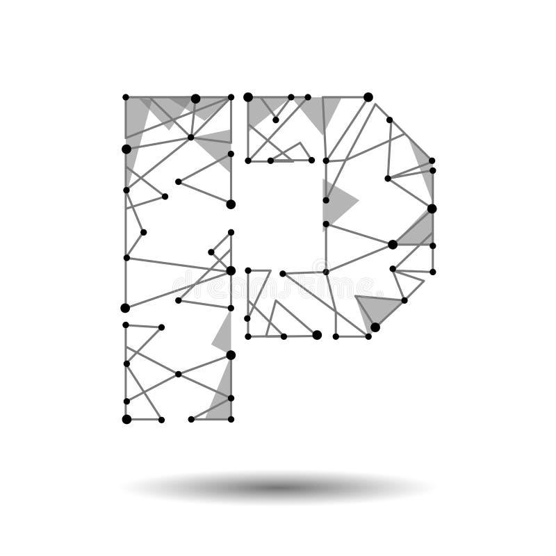 Lage polybrievenp Engelse Latijnse Cyrillic De veelhoekige driehoek verbindt de lijn van het puntpunt Zwarte witte 3d structuur m royalty-vrije illustratie
