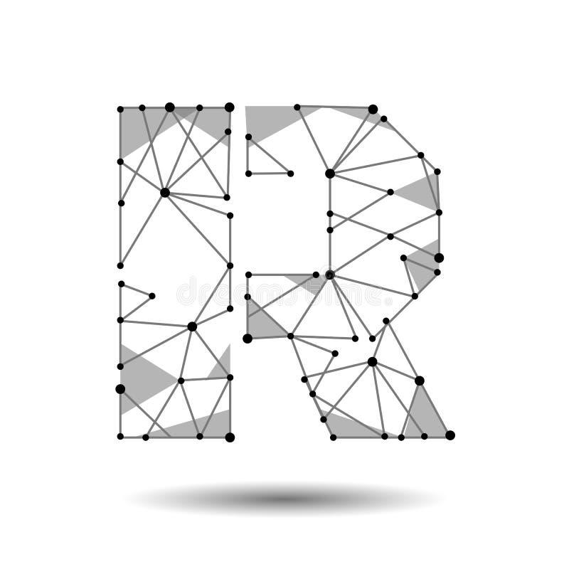 Lage polybrievenr Engelse Latijn De veelhoekige driehoek verbindt de lijn van het puntpunt Het zwarte witte 3d type van structuur stock illustratie