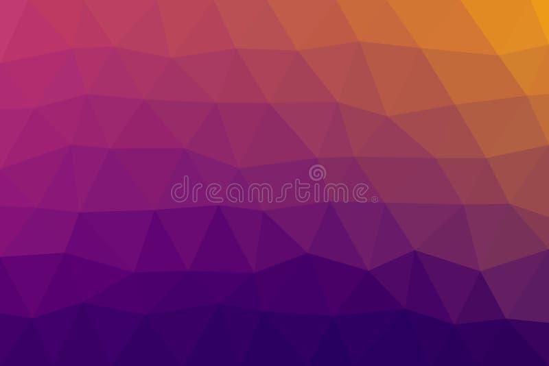 Lage polydriehoeken achtergrond purpere roze gele blauwe kleurenvector stock illustratie