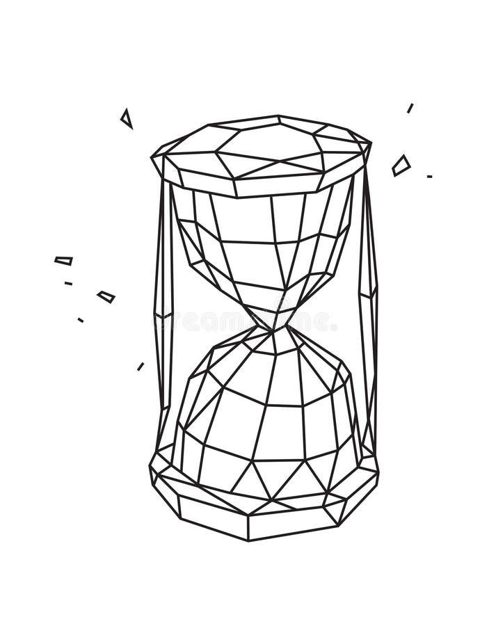 Lage polyillustratie van een zandloper Vector Overzichtstekening Retro stijl Achtergrond, symbool, embleem voor het binnenland Za royalty-vrije illustratie
