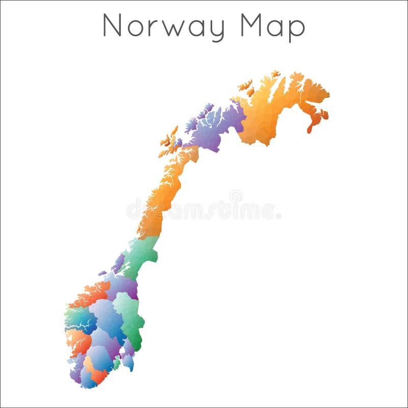Lage polykaart van Noorwegen stock illustratie