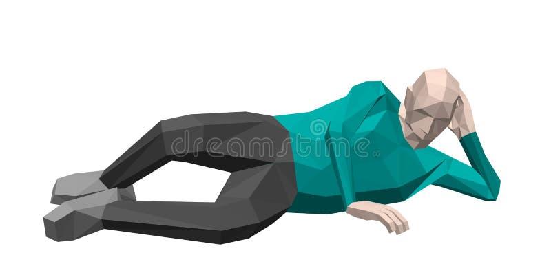 Lage polymens die op de grond leggen 3d vectorillustratie royalty-vrije illustratie