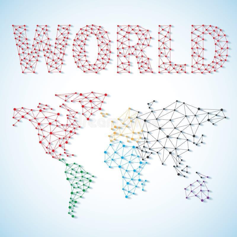 Lage polywereldkaart Globaal verbind netwerknetwerk Sociaal communicatie concept met onderwerpwereld in lage polystijl vector illustratie