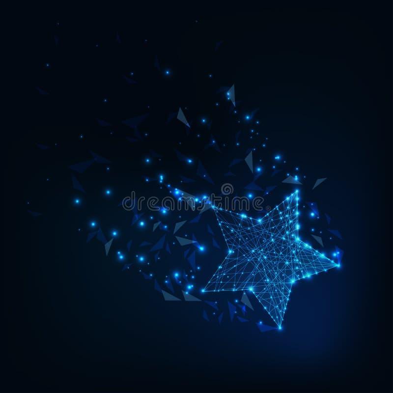 Lage veelhoekige gloeiende die ster met staart van constellatie sterren, lijnen, driehoekige vormen wordt gemaakt vector illustratie