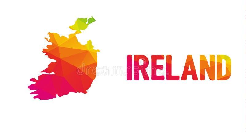 Lage veelhoekige kaart van Republiek Ierland à ire ‰ met Irelan stock illustratie