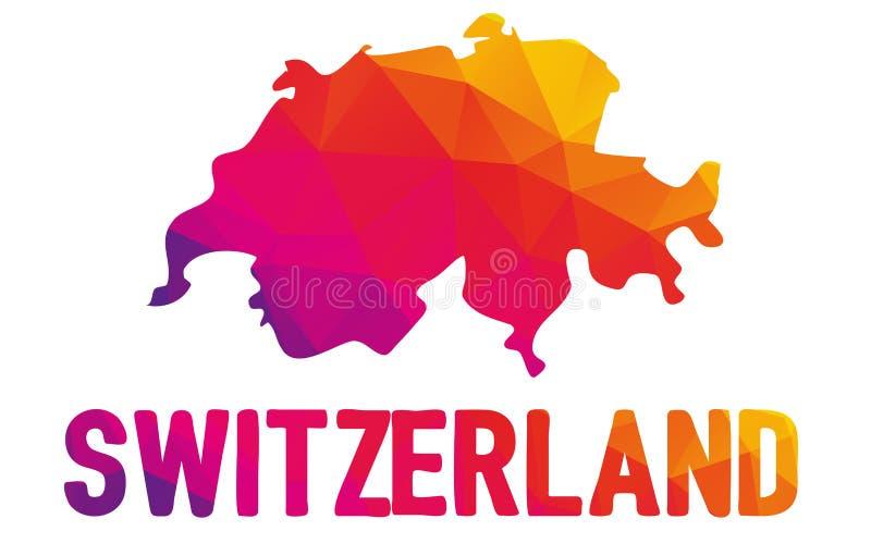 Lage veelhoekige kaart van Zwitserse Bondsstaat met Zwitserland typo s stock illustratie