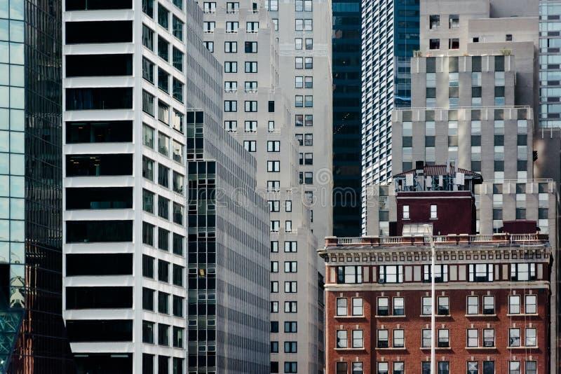 Lagen gebouwen in Manhattan, New York stock afbeelding