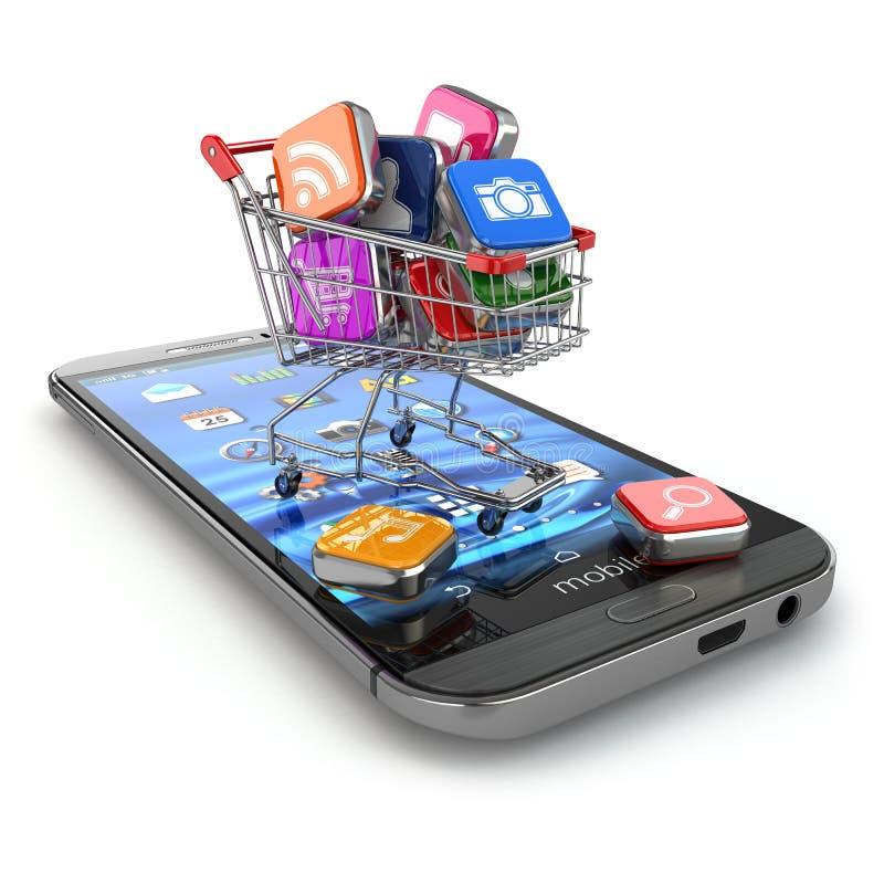 Lager av mobil programvara Smartphone appssymboler i shoppingvagn stock illustrationer