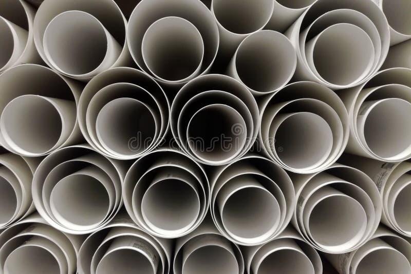 Lager av plast- industriella rör för polypropylene fotografering för bildbyråer