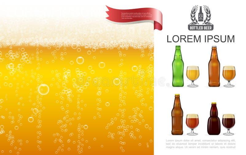 Lager Beer Concept écumeux réaliste illustration de vecteur