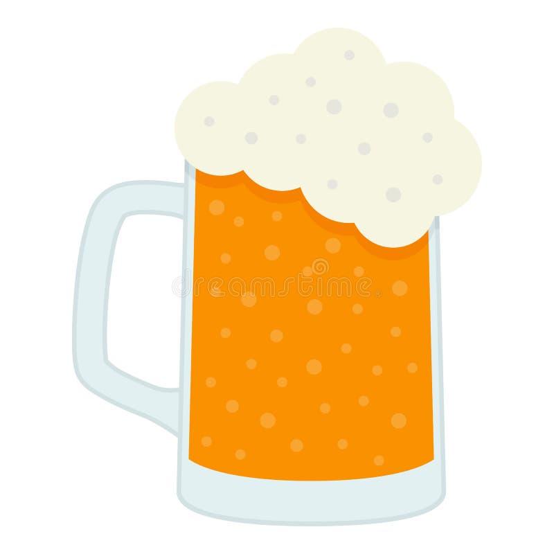 Lager Beer Glass Flat Icon a isolé sur le blanc illustration libre de droits