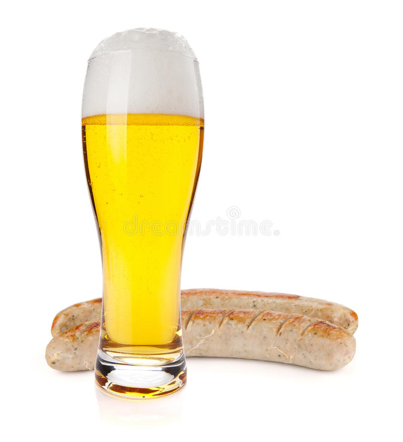 Download Lager Beer Glass And Two Grilled Sausages Stock Photo - Image: 24012332