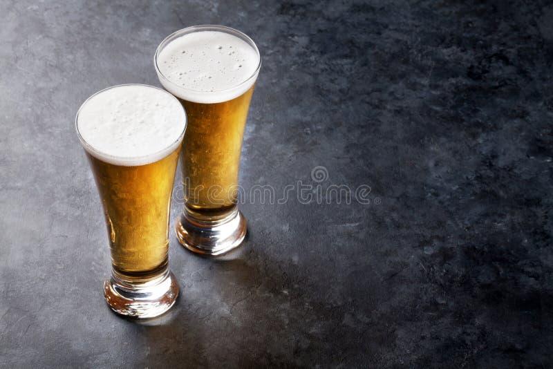 Lager-Bier Gläser lizenzfreies stockbild