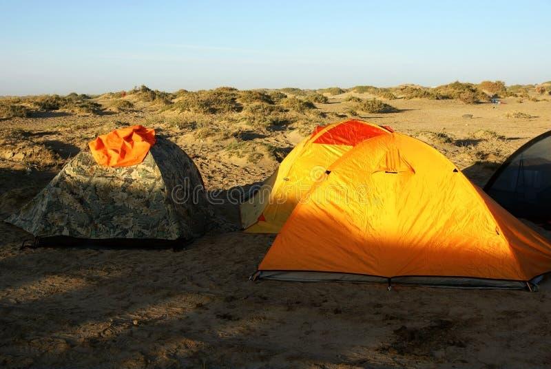 Lager in der Gobi-Wüste lizenzfreies stockbild