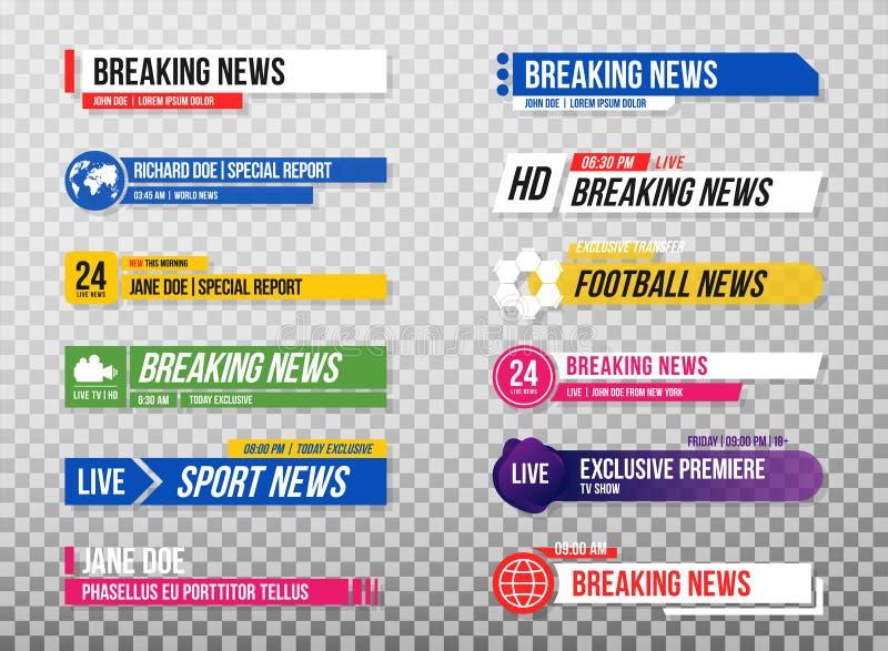 Lager derde malplaatje Reeks de banners en bars van TV voor nieuws en sportkanalen, het stromen en het uitzenden Inzameling van l royalty-vrije illustratie