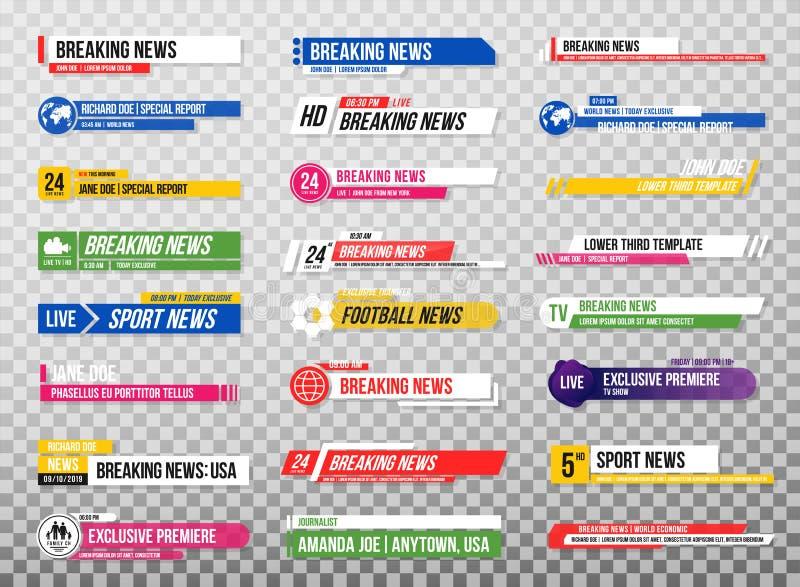 Lager derde malplaatje Reeks de banners en bars van TV voor nieuws en sportkanalen, het stromen en het uitzenden Inzameling van l stock illustratie