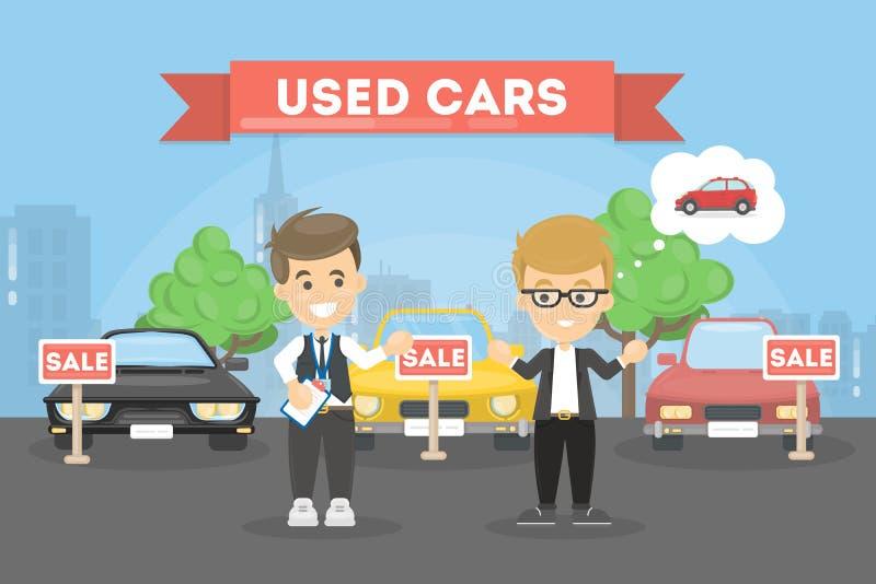 Lager för använda bilar stock illustrationer
