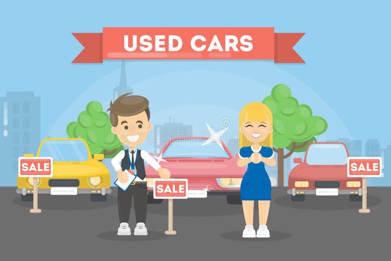 Lager för använda bilar vektor illustrationer