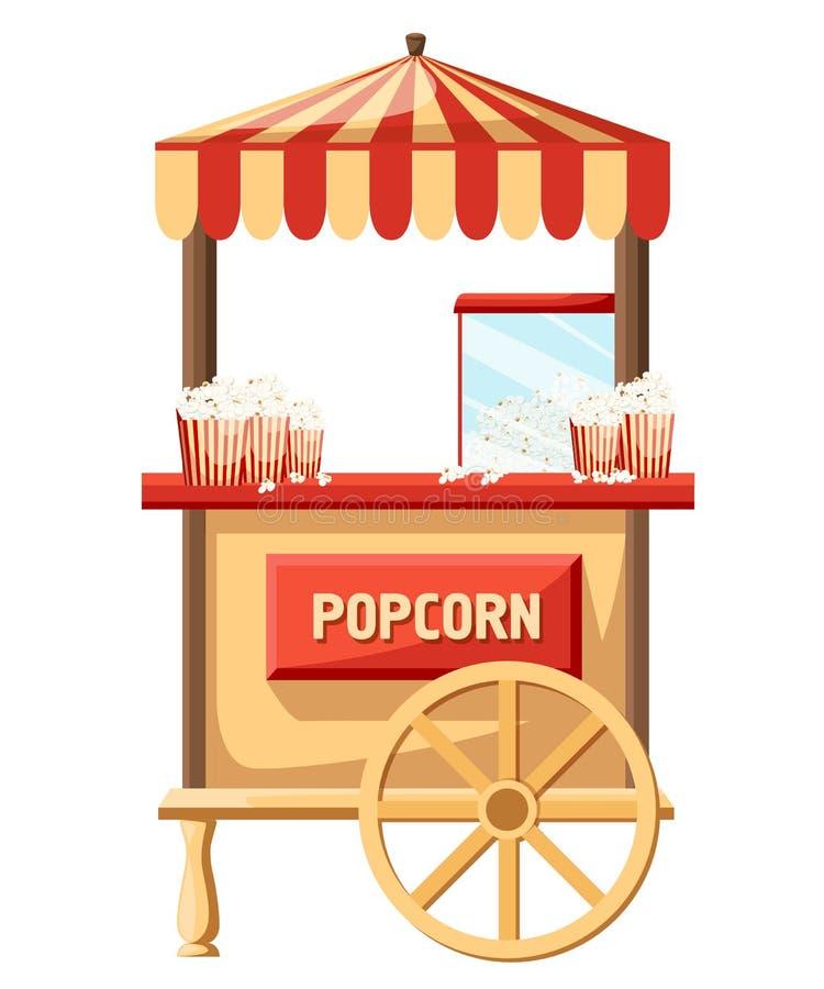 Lager för popcornvagnskarneval och gyckelfestivalvagn Läcker smaklig retro bil för popcorntecknad film Mellanmål fo för säljare f stock illustrationer