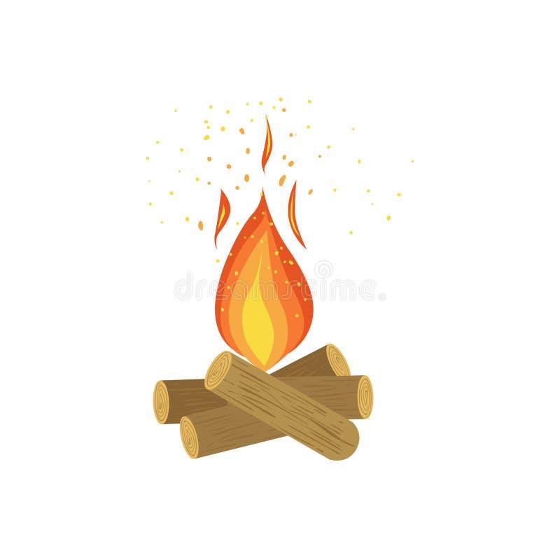 Lager-Feuer auf Klotz des Holzes lizenzfreie abbildung