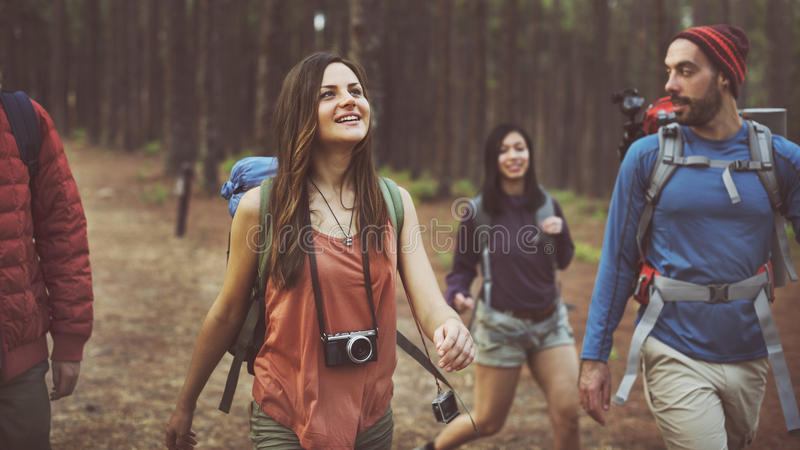 Lager Forest Adventure Travel Relax Concept stockfotos
