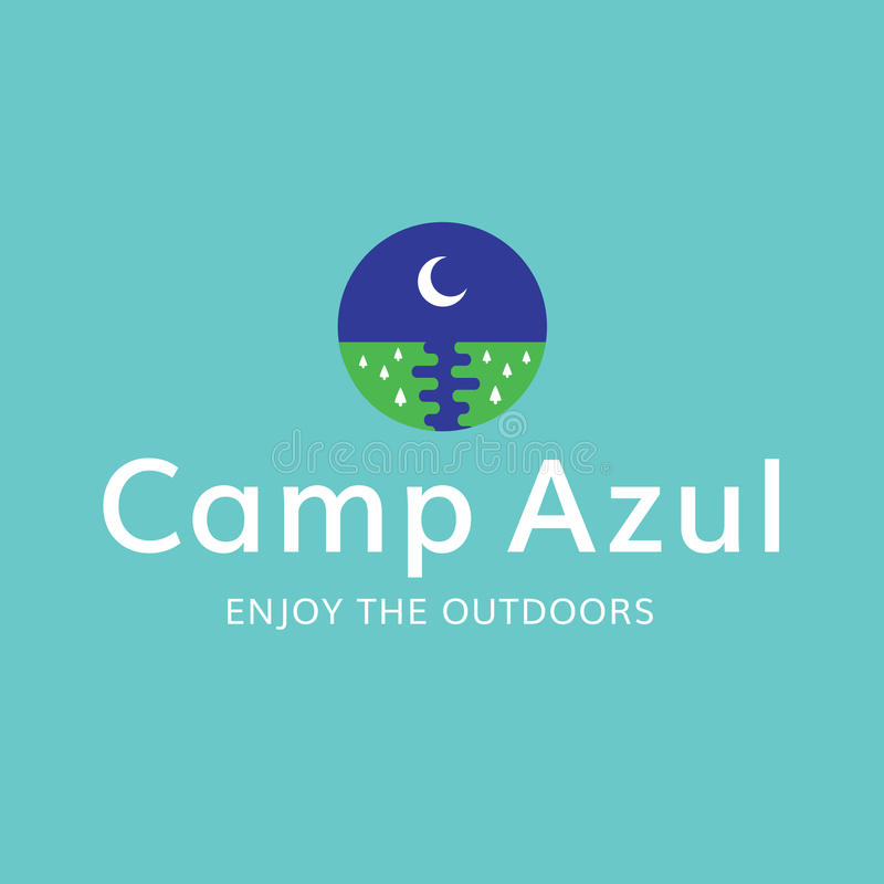 Lager-Mond-draußen Erholungs-Logo stockbild