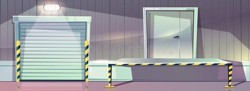 Lager som lastar av slutare för plattformvektorrulle stock illustrationer
