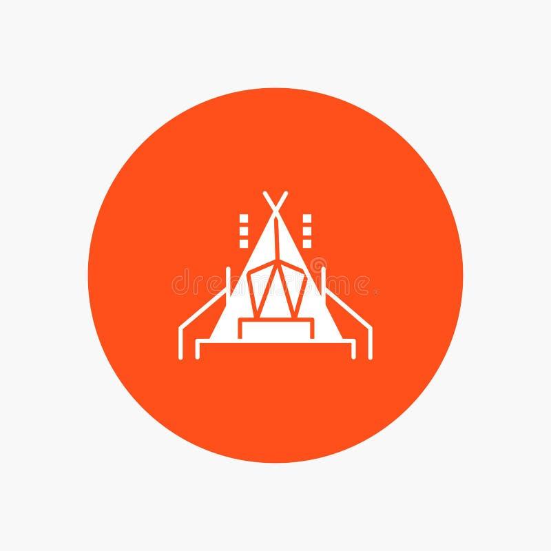 Lager, Zelt, kampierende weiße Glyphikone stock abbildung