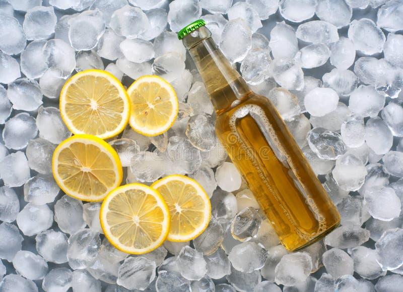 Lagerbierfles met citroenplakken in het ijs royalty-vrije stock foto