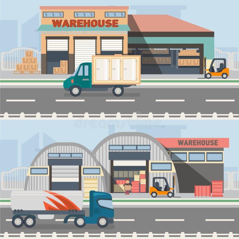 Lagerbyggnad och sändningsprocess royaltyfri illustrationer