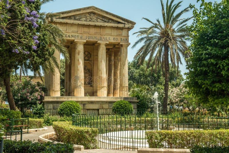 Lagere Barrakka-Tuinen in Valletta stock foto