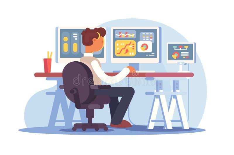 Lagerföra affärsmannen som sitter på arbetsplatsen stock illustrationer