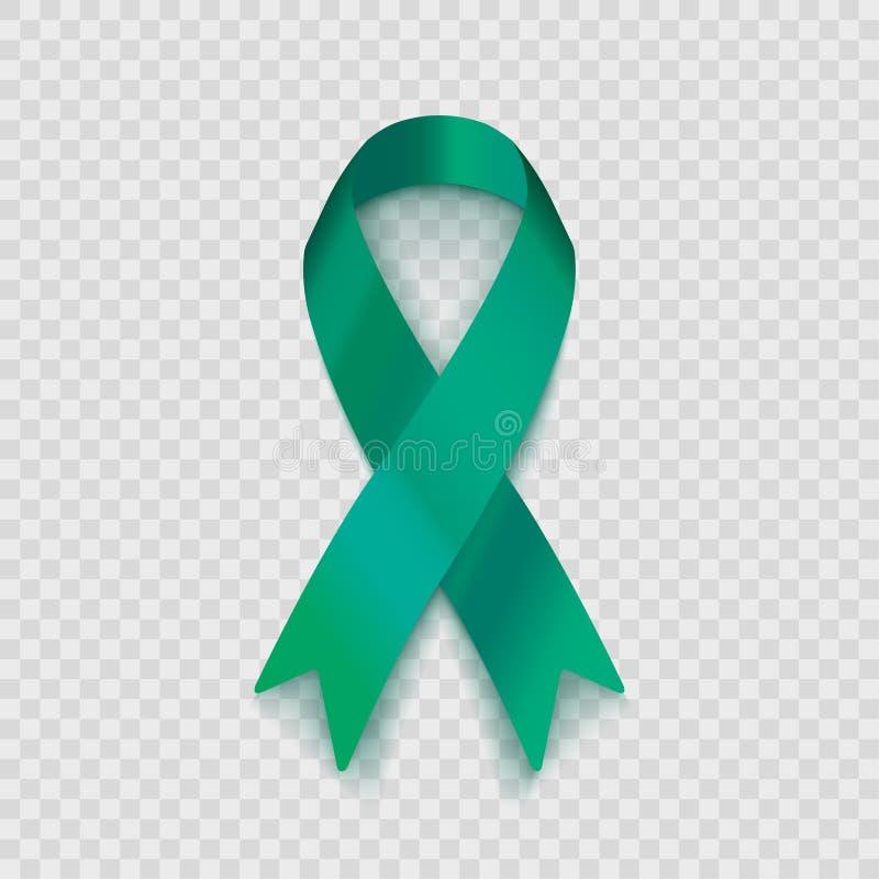 Lagerföra bandet för vektorillustrationjade som isoleras på genomskinlig bakgrund Jade Ribbon Campaign medvetenhet om hepatit B o royaltyfri illustrationer