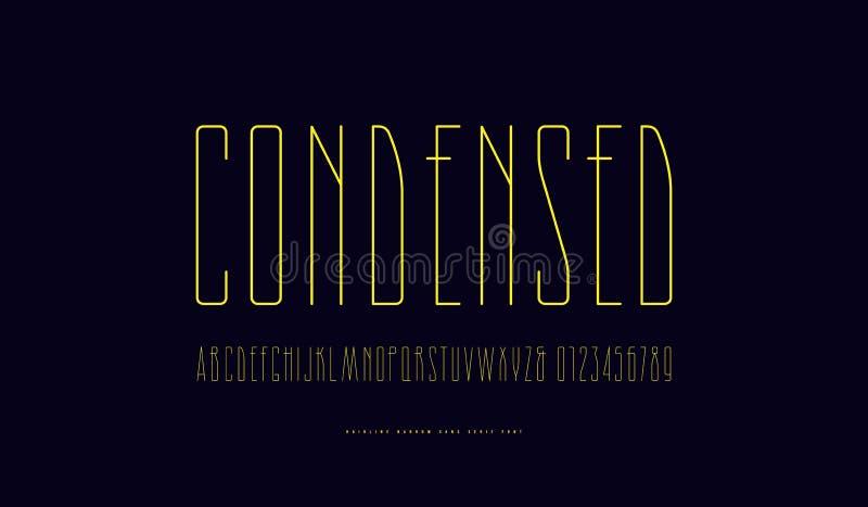 Lagerföra den förtätade Sans Serif för vektorn stilsorten stock illustrationer
