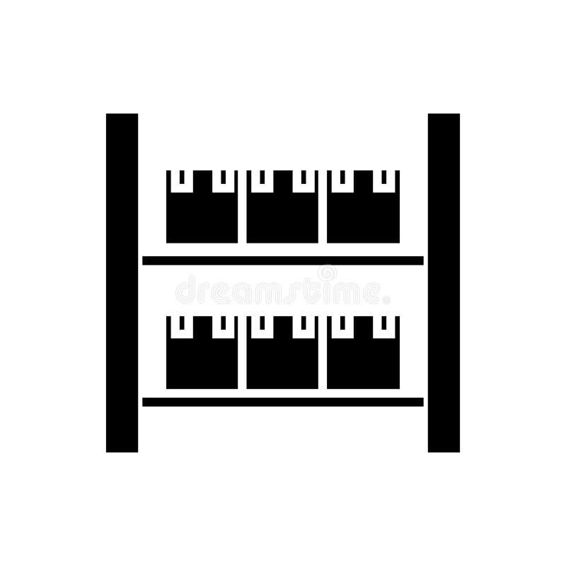 Lagerföra den industriella lagersymbolen, vektorillustrationen, svart tecken på isolerad bakgrund royaltyfri illustrationer