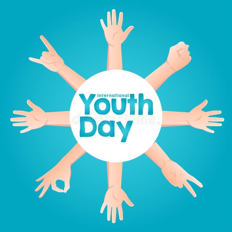 Lagerföra den internationella ungdomdagen för vektorn, 12 Augusti cirkelhänder upp på blå bakgrund stock illustrationer