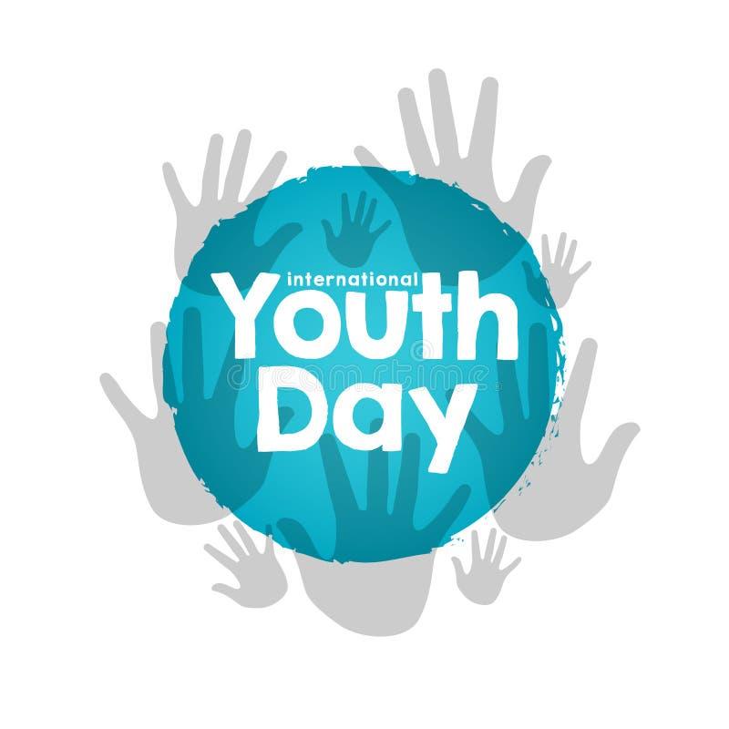 Lagerföra den internationella ungdomdagen för vektorn, 12 Augusti händer på blå bakgrund vektor illustrationer