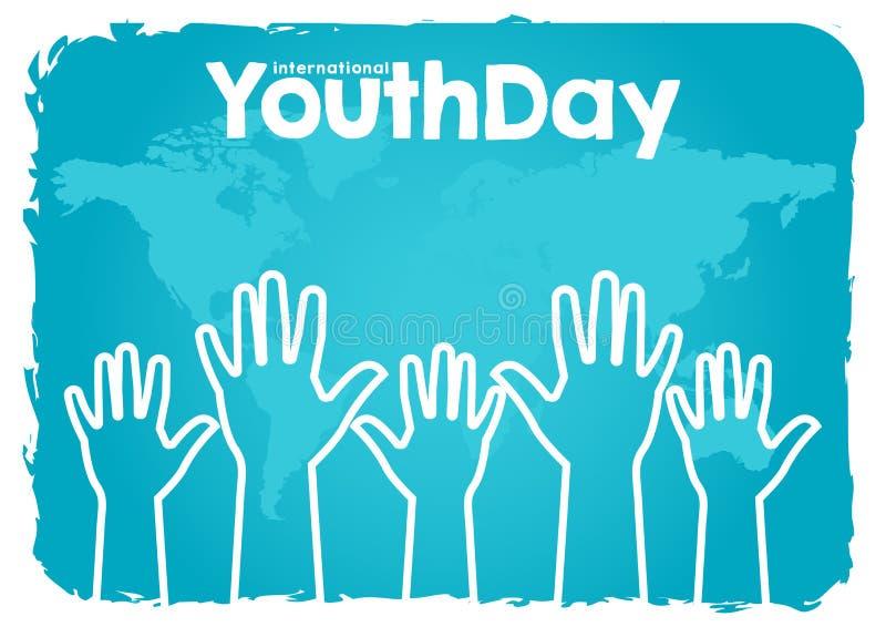 Lagerföra den internationella ungdomdagen för vektorn, 12 Augusti händer upp på blå bakgrund för världskarta vektor illustrationer