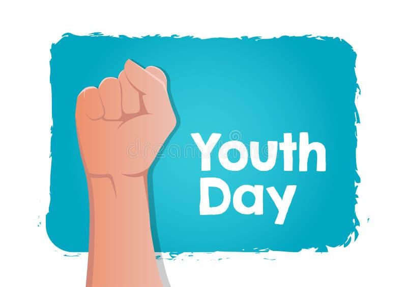 Lagerföra den internationella ungdomdagen för vektorn, 12 den Augusti näven på blå bakgrund royaltyfri illustrationer