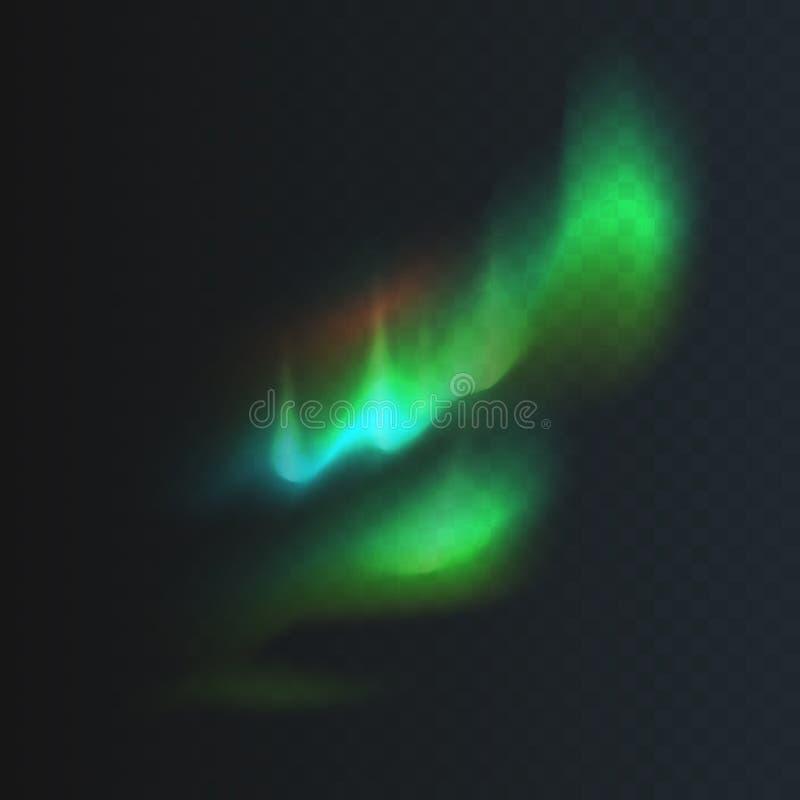 Lagerföra den nordliga vektorillustrationen och polara ljus som isoleras på en genomskinlig rutig bakgrund Magnetiska stormar aur arkivfoton
