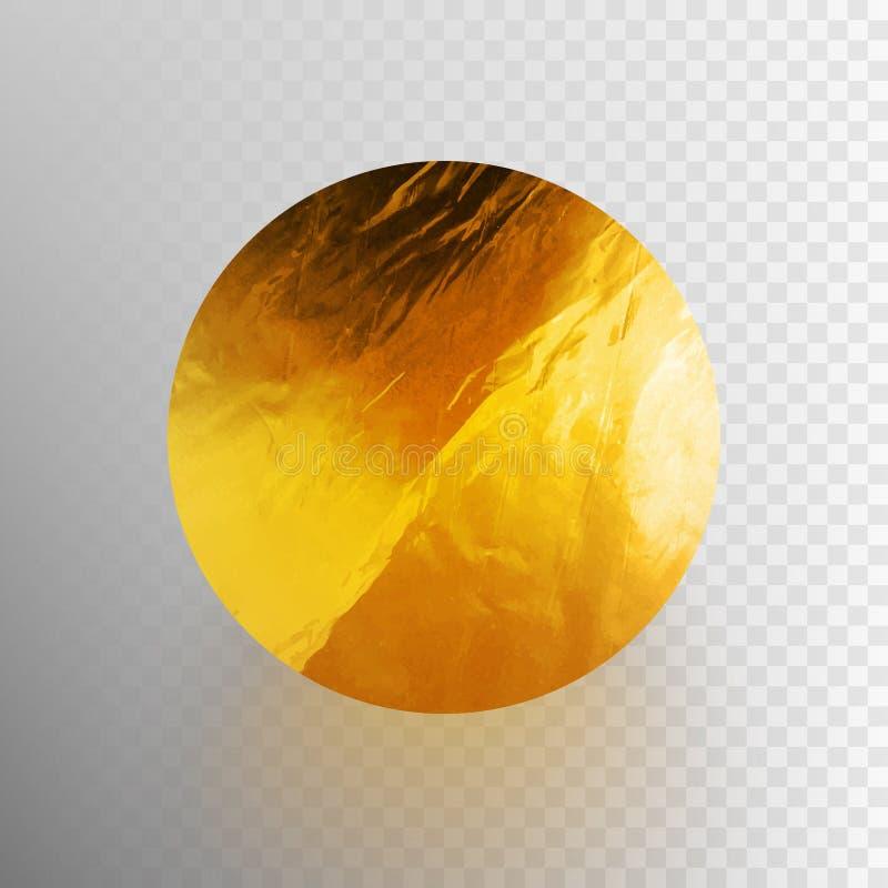 Lagerföra den skinande vektorillustrationen, sparkly bladguldcirkel Textur för metallfolie som isoleras på en genomskinlig bakgru vektor illustrationer
