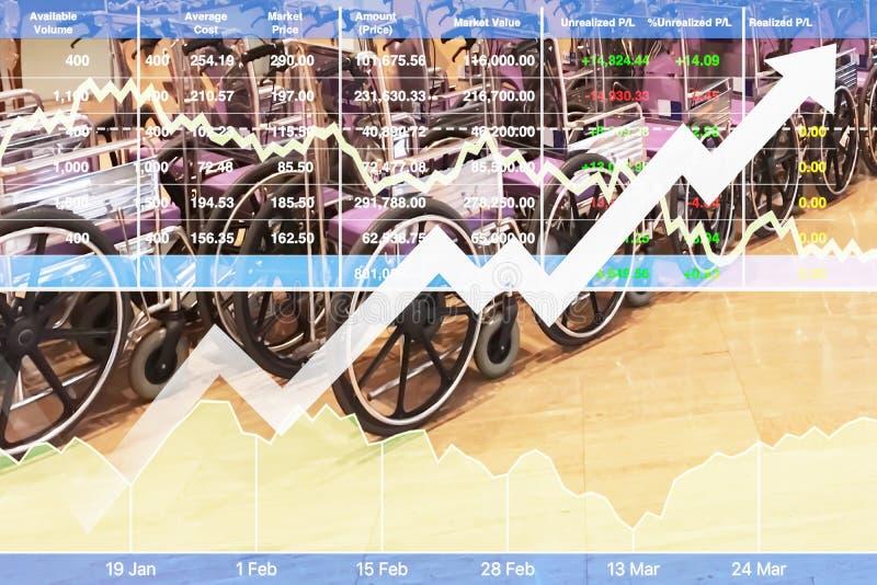 Lagerföra det finansiella indexet av den lyckade investeringen på sjukhusaffär arkivfoton